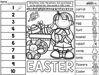 Easter ABC Order Cut and Paste FREEBIE: Level 2 by More