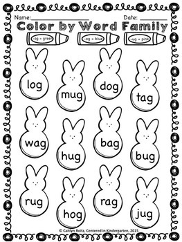 Easter Color By Word Family Freebie! by Centered in