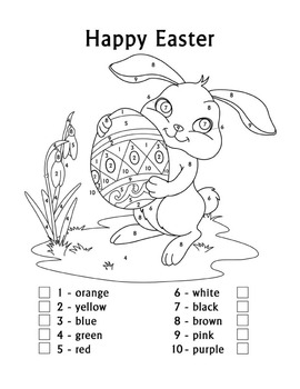 Easter Fun Color by Number Easter Bunny Coloring