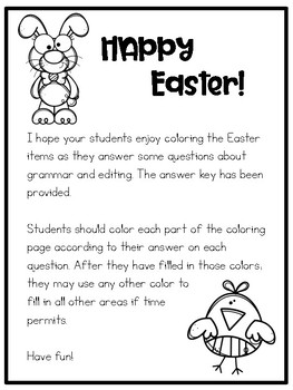 Easter Grammar Review with Coloring Page by Texas Teaching