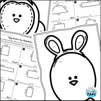 Easter Math: Area & Perimeter Color by Number Easter
