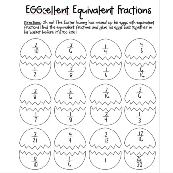 Easter Math: Eggcellent Equivalent Fractions by The Juice