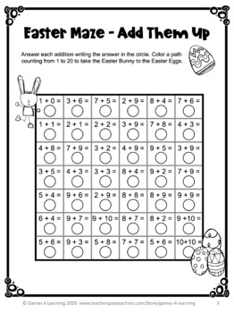 Easter Activities: Easter Math Mazes Freebies by Games 4