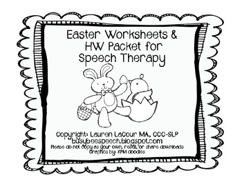 Easter Worksheet/HW Packet for Speech Therapy by Lauren