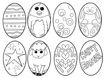 Easter egg cut and color coloring page multiple uses by Mr