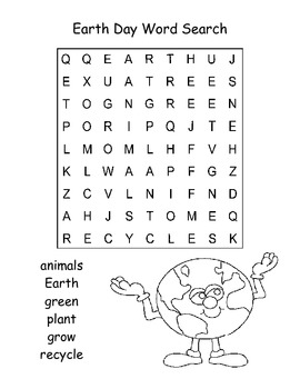 Easy Earth Day Word Search Puzzle / Kindergarten by Kelly