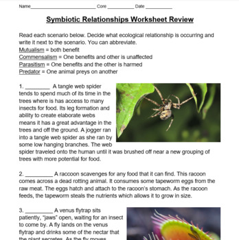 Symbiotic Ecological Relationships Lesson