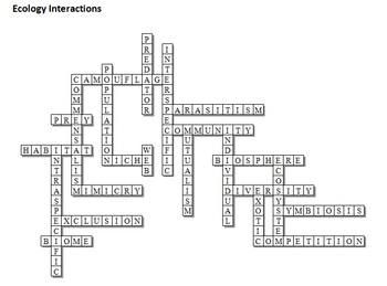 Food Web, Ecology Crossword Puzzle by Science from Murf