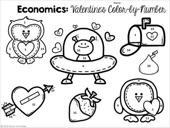 Economics: Color-by-Number Activity (Valentine's Day