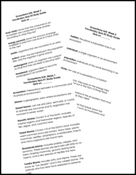 Ecosystems Vocabulary Study Guides, Vocabulary Quizzes