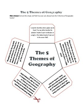 5 Themes of Geography Lesson and Back To School Postcard