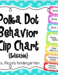 Polka dot behavior clip chart editable also by mrs ricca   kindergarten rh teacherspayteachers