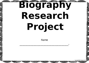 Editable Biography Research Notes Handout Student