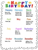 Editable Birthday Chart Teaching Resources | Teachers Pay ...