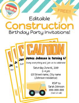 editable construction themed birthday