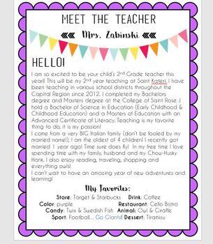 Editable Meet The Teacher Letter By Maria Zabinski TpT