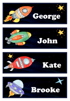 Editable Name Tags Space Clip Art By The Classroom TpT