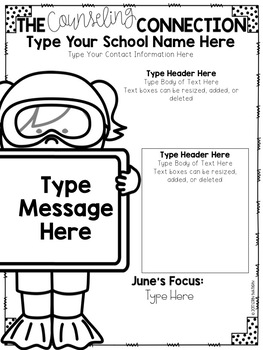 Editable School Counselor Newsletter templates (2nd