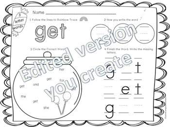 Editable Sight Word Work for 3 Letter Words by Miss Campos