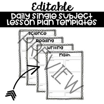 Editable Single Subject Lesson Plan Template by