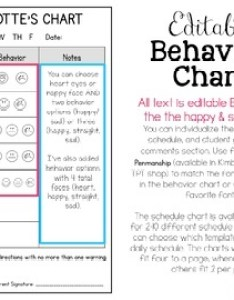 Editable student inidual behavior chart also by simply creative teaching rh teacherspayteachers