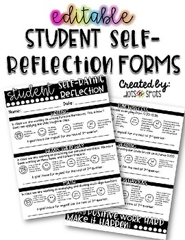 Editable Student Self-Reflection Rating Form by Dots-n