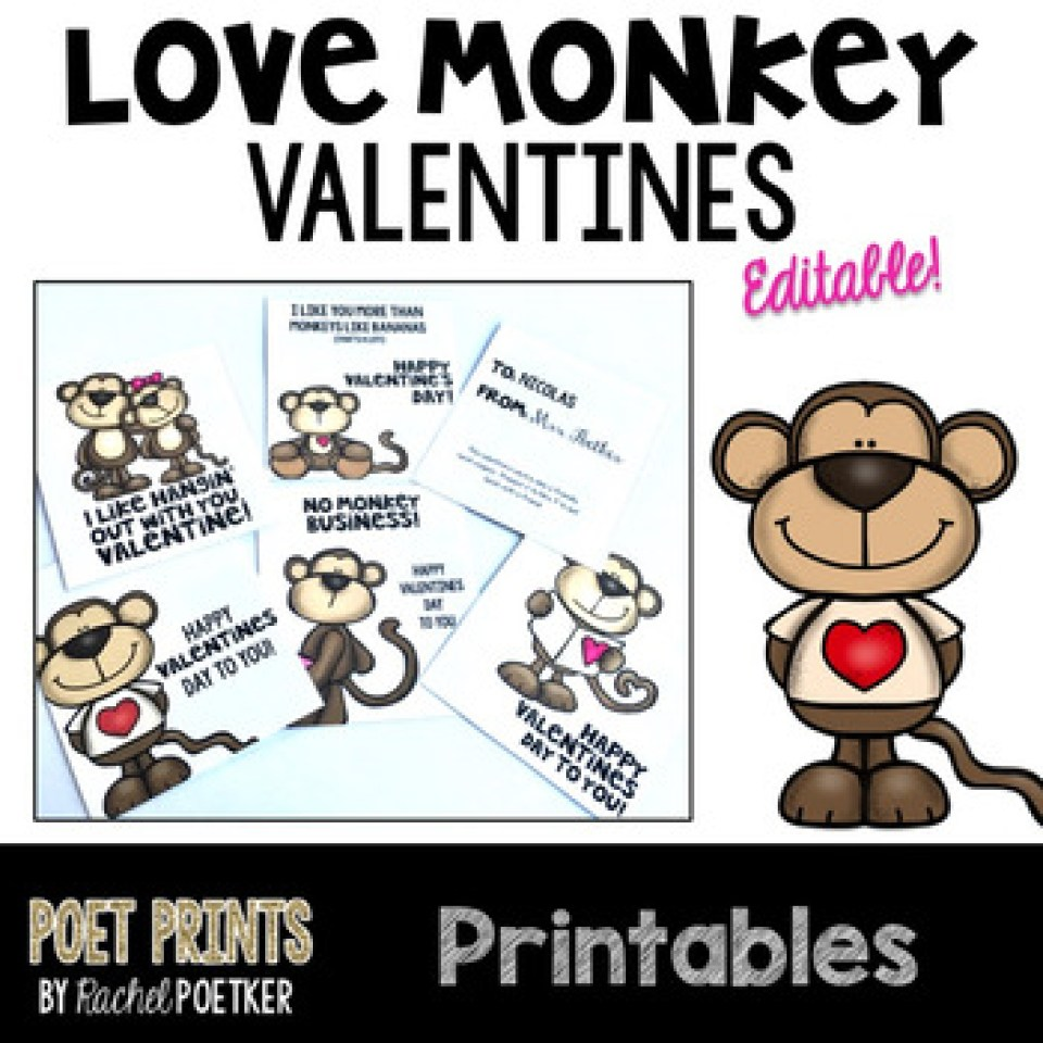 Free Love Monkey Valentines Day Cards - Editable