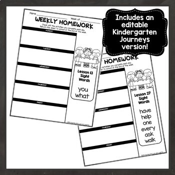 Editable Weekly Homework Checklists {Compatible With