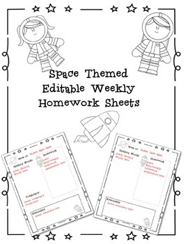 Editable Weekly Homework Template Space Theme by Shanon's