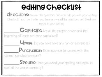 Editing and Revising Checklists by Fantastically Fourth