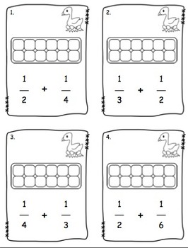 Egg Carton Fraction Addition Task Cards by love2learn2day