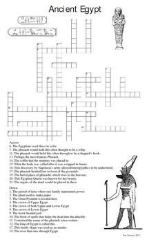Egypt Art History Crossword (Egyptian Terms Review) by