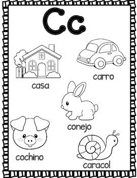 El Alfabeto: Spanish Alphabet Coloring Sheets by Bilingual