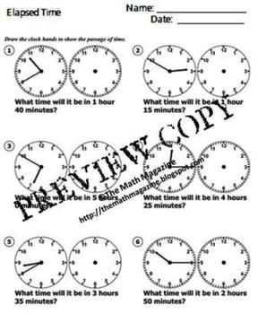 Elapsed Time Worksheet with Answers 1.MD.B.3 2.MD.C.7 3.MD