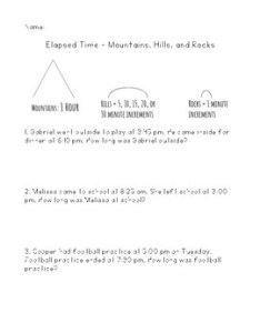 Elapsed time using mountains hills and rocks strategy by brianna refner also rh teacherspayteachers