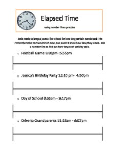 Elapsed time with  number line also worksheet teaching resources teachers pay rh teacherspayteachers