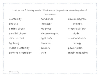 Electric Circuits Vocabulary Packet, Activities, and