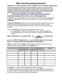 Electromagnetic Spectrum Worksheet For Middle School