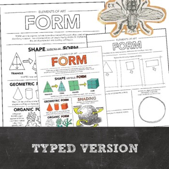 Form Elements of Art Printable Worksheet: Middle School