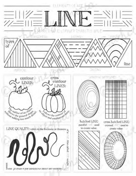 Line, Elements of Art Printable Worksheet: Elementary