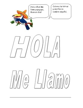 Elementary Spanish greetings and coloring page by Katie