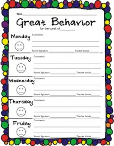 Elementary weekly behavior chart also by gretchen kassel tpt rh teacherspayteachers