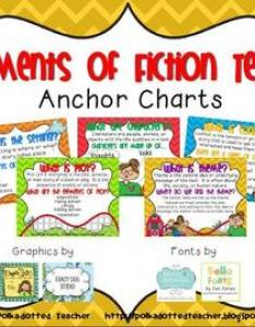 Elements of fiction text anchor charts and flipbook also by miss carlton rh teacherspayteachers