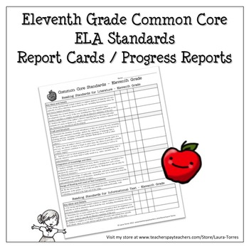 Eleventh Grade ELA Common Core Progress Report / Chart by
