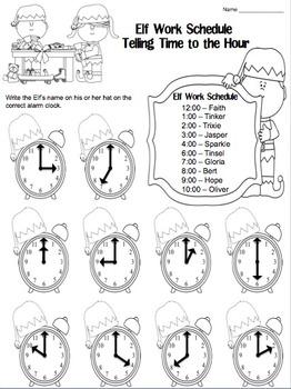 Elf Work Schedule Telling Time (Hour, Half Hour, Quarter