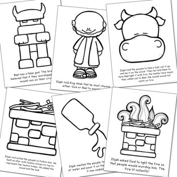 ELIJAH AND THE PROPHETS OF BAAL Bible Story Coloring Pages