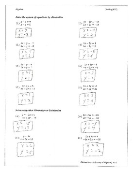 Elimination and Substitution Method Worksheet with Key by