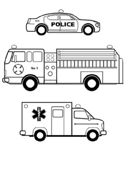 Emergency Vehicles Coloring Sheet by Steven's Social