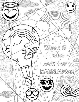 Emoji Coloring Pages with Growth Mindset Sayings by Art is