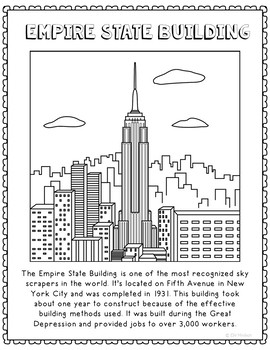 Empire State Building Informational Text Coloring Page